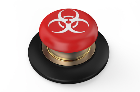 biological: Biological hazard red button isolated on white background