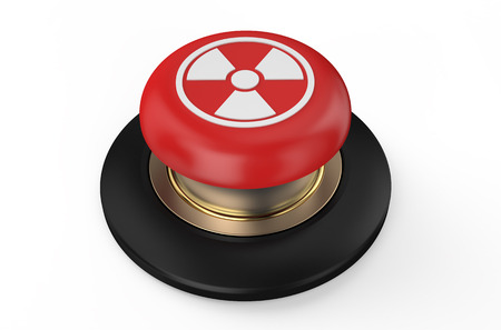 radiation button isolated on white background photo