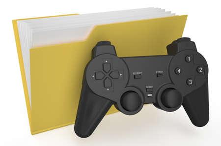 yellow folder with gamepad isolated on  white background photo