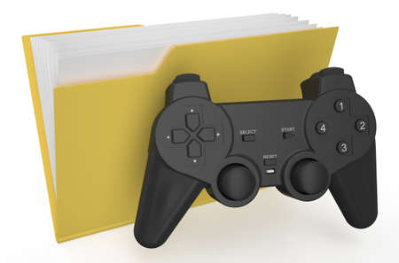 playstation: yellow folder with gamepad isolated on  white background
