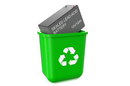 logo recyclage: poubelle avec accumulateur de voiture isol� sur fond blanc