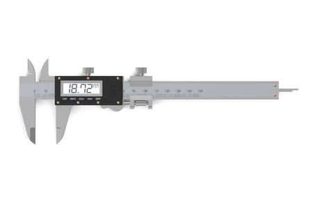 sliding caliper: digital electronic vernier caliper isolated on  white background