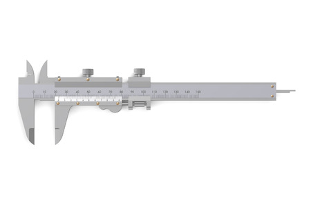 sliding caliper: Vernier caliper isolated on  white background Stock Photo