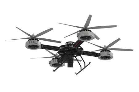 quadrocopter drone with camera isolated on  white background photo