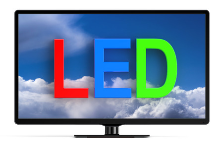 wirelessly: LED TV set isolated on white background Stock Photo