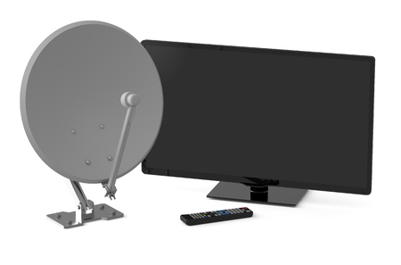 information medium: TV set and satellite dish isolated on  white background
