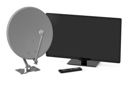 satellite dish: TV y antena parabólica aislados sobre fondo blanco