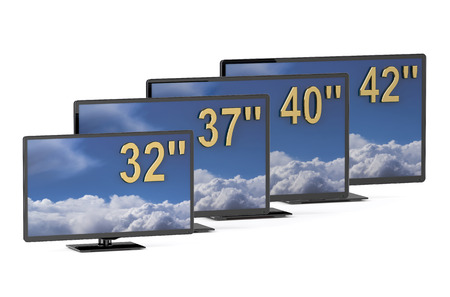 display size: TV sets with different diagonal isolated on white background