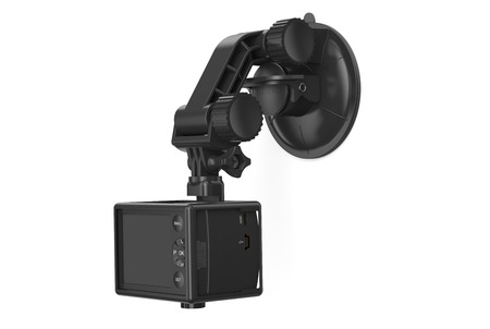 Dashboard camera – DVR with car holder isolated on white background photo