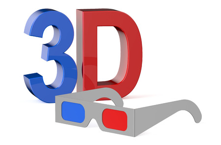 3dtv: 3D concept with glasses isolated on white background