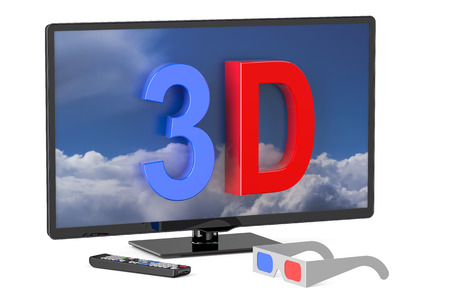 3dtv: 3D television and 3D glasses isolated on white background