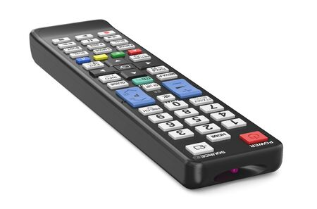 wirelessly: black TV remote control isolated on  white background
