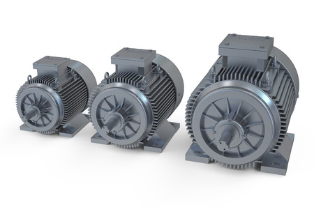 Industrial electric motors isolated on white background photo