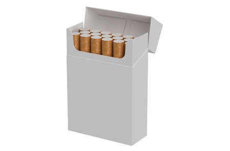 smoke stack: open pack of cigarettes isolated on white background Stock Photo
