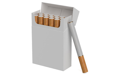 smoke stack: white cigarettes pack isolated on white background Stock Photo