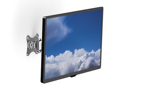 wirelessly: TV set with TV wall mount isolated on white background