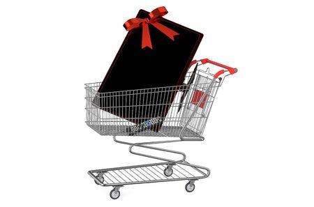 tv set: shopping cart with TV set  isolated on white background
