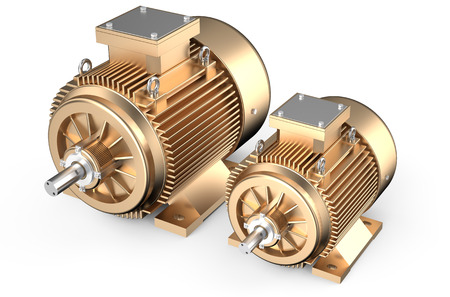 bronze industrial electric motors isolated on white background Foto de archivo