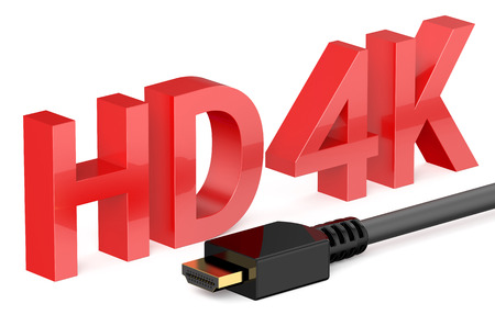 hd: HD 4K concept  isolated on white background Stock Photo