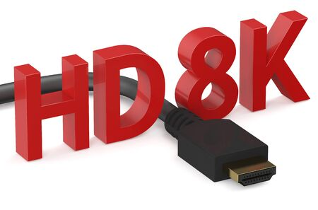 hd: HD 8K concept  isolated on white background Stock Photo