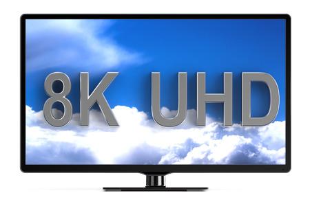 television set: television set with 8K UHD isolated on white background