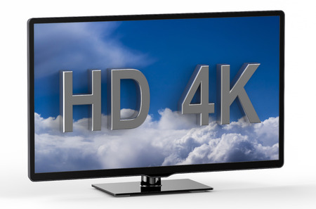 television set: television set with HD 4K isolated on white background