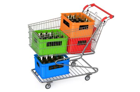 crates: shopping cart with crates beer isolated on white background Stock Photo