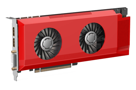 decoding: red video card isolated on white background