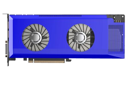 decoding: blue video card isolated on white background Stock Photo