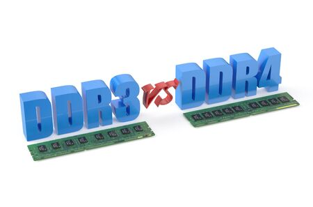 ddr3: DDR3 versus DDR4 concept isolated on white background