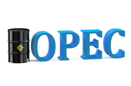 unificar: Concepto de la OPEP aislado en fondo blanco Foto de archivo
