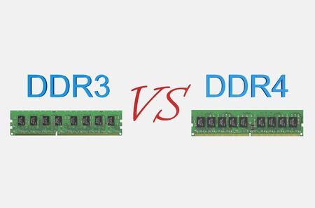 ddr3: reviev DDR3 versus DDR4 concept isolated on white background