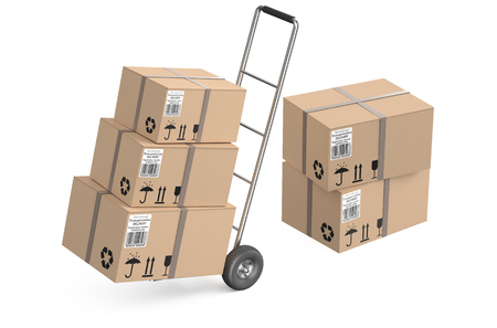 Hand truck with cardboard boxes isolated on white background photo