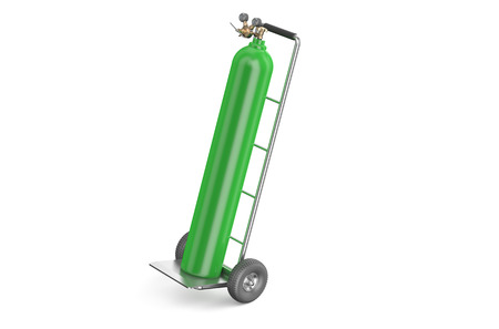 restricting: handcart with green gas cylinder  isolated on white background