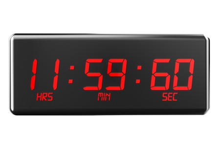 timekeeping: leap second concept  isolated on white background