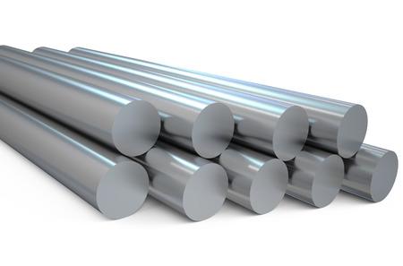 aluminum rod: steel round bars  isolated on white background Stock Photo