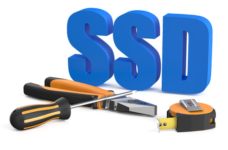 ssd: SSD service and repair concept isolated on white background