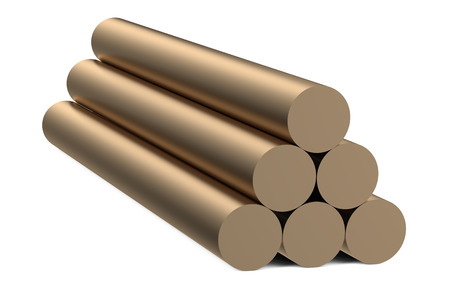 metalworking: bronze round bars isolated on white background