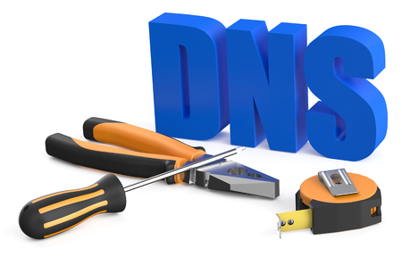 dns: DNS concept isolated on white background Stock Photo