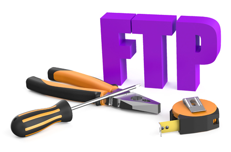 ftp: FTP service concept isolated on white background