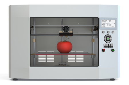 3d printer: metallic 3d printer with food isolated on white background