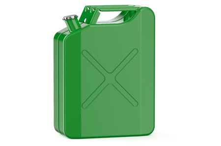 jerry: green jerry can with gasoline isolated on white background Stock Photo