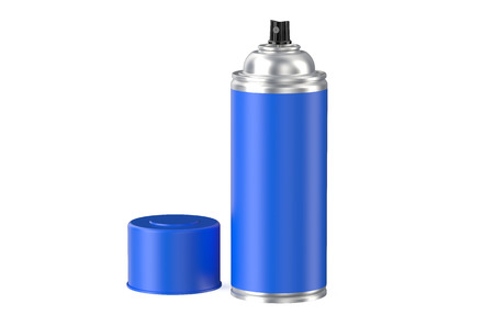 hairspray: blue spray paint can isolated on white background Stock Photo