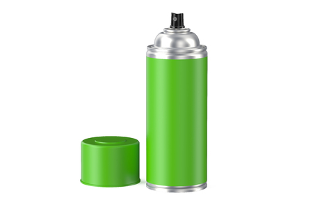spray can: green aerosol spray can isolated on white background Stock Photo