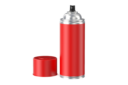 hairspray: red spray can isolated on white background