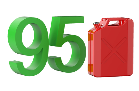 octane: steel red jerrycan with 95 gasoline isolated on white background