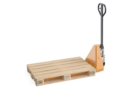 pallet truck: hydraulic hand pallet truck with pallet isolated on white background