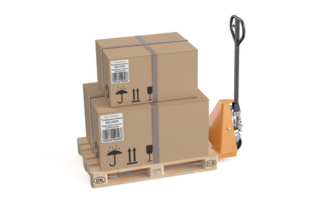 jack in a box: pallet jack with cardboard box isolated on white background