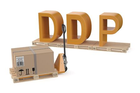 shipped: DDP concept isolated on white background