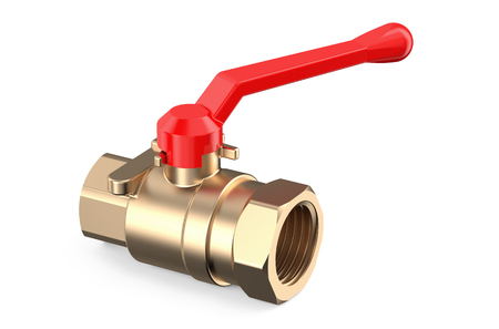 red valve isolated on white background Stock Photo